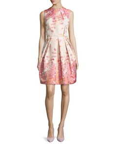 Sleeveless Pleated Floral-Print Cocktail Dress, Coral by Carmen Marc Valvo at Neiman Marcus.