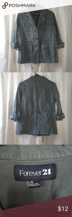 Forever21 Olive Green Utility Jacket Forever21 olive green utility style jacket. This jacket has a tie waist and tabbed sleeves when rolled. 4 front buttons and 4 front pockets. Gently worn. 97% Cotton 3% Rayon Forever 21 Jackets & Coats Utility Jackets