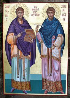 Holy Wonderworking Unmercenary Physicians Cosmas and Damian icon by Georgi Chimev Saints, Paint Icon, Byzantine Icons, Pilgrims, Orthodox Icons, Hand Painted, Catholic Art, Christians, Fresco