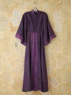 Free People Vintage Silk Patterned Indian Dress