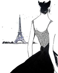 "Illustration - ""j'adore paris"" - watercolor"