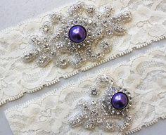 RACHEL II  Purple Pearl Wedding Garter Set by HannabellaDesigns, $24.95