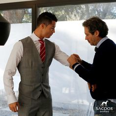 Tailored to Perfection | More than finding the perfect suit for your wedding, at Sacoor Brothers' stores you can set a personalised service of Tailoring for you and for your best man. Everything for a perfect day. #SacoorBrothers #CristianoRonaldo #Tailoring #Fashion #Wedding #Suits