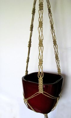 Twine Macrame plant hanger-indoor plant by MadeByMiculinko on Etsy