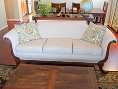 diddle dumpling: Before and After: Antique Sofa She used a Hardware store drop cloth
