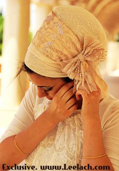 Peach Satin Lace Sinar Tichel headscarf Headcovering by Leelach Head Turban, Costumes Around The World, Bandana, Hijab Style, Hair Cover, Head Wrap Scarf, African Attire, Bad Hair Day, Scarf Hairstyles