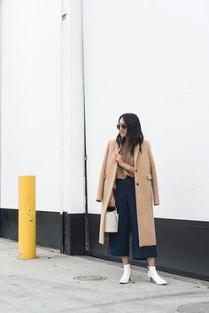 Camel coat + navy pinstripe culottes