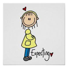 """¡Una figura mamá futura del palillo con un vientre y un texto grandes que lee la """"espera"""" en contar con las camisetas del bebé, las bolsas de asas, las tarjetas, los pegatinas, las tazas, los imanes, los mousepads, los llaveros, las sudaderas con capucha, los botones, y otros artículos para la mujer embarazada!"""