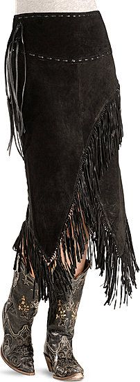 Fringed leather cowgirl skirt and boots...