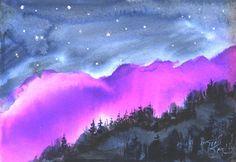 Magenta Sky celestial landscape painting by by jimsmeltzgallery, $50.00