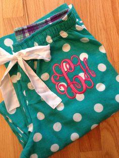 Monogrammed Pajama Pants - Teal and white polka dots I want these soooo bad