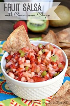 This simple fruit salsa recipe is made up of strawberries, kiwi, and apples, served on homemade cinnamon chips! Great for snacking, or summer parties.