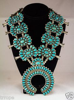 Old-Vintage-Native-American-Pawn-Turquoise-Squash-Blossom-Necklace: