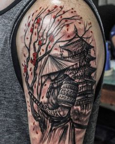 Samurai, tree and temple / Samurái, árbol y temp… Samurai Tattoo Sleeve, Samurai Warrior Tattoo, Warrior Tattoos, Armor Tattoo, Norse Tattoo, Viking Tattoos, Japanese Temple Tattoo, Japanese Tattoo Art, Japanese Tattoo Designs