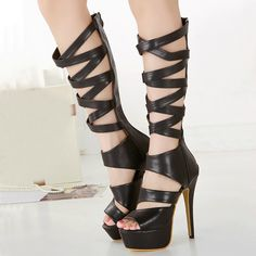 Glenda Black Platform Open toe Gladiator Knee-high Sandal High Heel Shoes and other apparel, accessories and trends. Browse and shop 1 related looks. Lace Up High Heels, Open Toe High Heels, Platform High Heels, Sexy High Heels, Black Platform, Sandals Platform, Nylons, Stiletto Heels, Shoes Heels