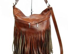 Fringe LEATHER Purse COGNAC BROWN Crossbody Leather Bag With | Etsy Leather Backpack Purse, Leather Laptop Bag, Leather Shoulder Bag, Leather Bag, Brown Leather Purses, Leather Handbags, Large Crossbody Bags, Hobo Bag, Convertible Backpack