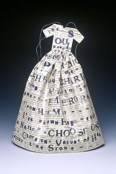 Lesley Dill ~ Small Poem Dress (The Soul Selects...)  (1993) Litho, newspaper.  10 x 10.5 in ~ Landfall Press, Edition of 50 lesleydill.net