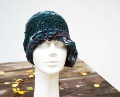 Something Blue - ATCTTeam Green winter hat Cloche hand knited retro woman teal by ZOJKAshop