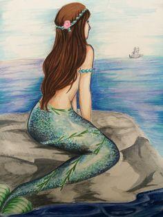 mermaid sitting on a rock - Google Search