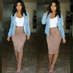 Pencil skirt outfits - fav skirt of all time 😊🙌 outfitpost fully restocked💕 don't miss out 😊 Top & skirt code Jacket code 💕xomonicas💕 Shoes Night Outfits, Mode Outfits, Chic Outfits, Spring Outfits, Outfit Summer, Casual Date Night Outfit, Dress Summer, Fashion Mode, Ootd Fashion