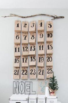 Fabrication d'un calendrier de l'avent pas cher avec des sachets kraft et une branche