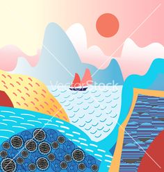 Water landscape and mountains vector on VectorStock
