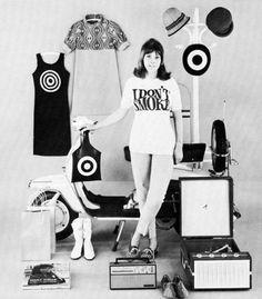 Mod girl paraphenalia, 1960s.