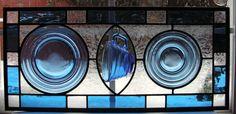 Depression Glass Window Panel in Blue by SerendipityGlassWrks, $89.00