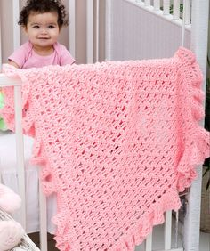 One Ball Ruffled Blankie  I am always looking for a fast & pretty pattern for baby blankets!