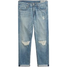 Rag & Bone Distressed Boyfriend Jeans (175 AUD) ❤ liked on Polyvore featuring jeans, pants, bottoms, blue, destroyed boyfriend jeans, relaxed boyfriend jeans, distressed denim jeans, denim jeans and blue jeans