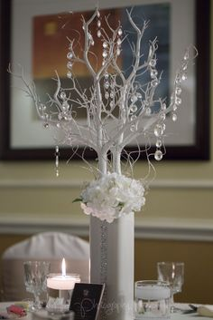 Beautiful Winter Centerpiece.  Simply Elegant!