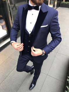 Collection: Spring – Summer 2019 Product: Slim-Fit Suit Vest Color Code: Navy Blue Size: Suit Material: 70 Viscose, 30 Poly Machine Washable: No Fitting: Slim-fit Package Include: Coat, Vest and Pants Only Navy Slim Fit Suit, Slim Fit Tuxedo, Tuxedo Suit, Tuxedo For Men, Navy Blue Suit Outfit, Blue Suit Men, Blue Suit Wedding, Wedding Suits, Tuxedo Wedding