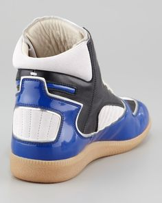 Maison Martin Margiela Patent Leather Trimmed High Top Sneaker.