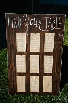 Handlettered wood seating sign   Simple outdoor wedding designed by Glacier Park Weddings   Green Door Photography