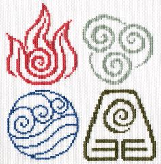 I've already stitched the Earth Nation, now the other three.. These are great! Avatar Symbols by ~littlemojo on deviantART