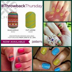 Good morning ladies and Happy Throwback Thursday! Today's Throwback Thursday features Guacamole and Cut Loose! These are included in the buy 3 get 1 free promotion too! :D Grab 'em fast girls cuz they will only be available until Monday at midnight! :D #guacamolejn #cutloosejn #tbt #throwbackthursday $ #jamberry #nailwrap #jamicure #manicure