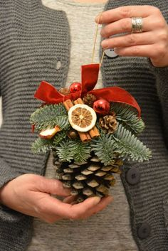 Christmas is a special time. Let the decorations create a magical Christmas spirit in your house. This listing is for MADE TO ORDER Large Pine Cone Christmas Ornament This arrangement will look gr(Christmas Diy Decorations) Noel Christmas, Christmas Fashion, Homemade Christmas, Rustic Christmas, Winter Christmas, Christmas Wreaths, Christmas Ornaments, Magical Christmas, Pinecone Ornaments