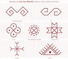 simboluri dacice - Căutare Google Folk Embroidery, Embroidery Patterns, Cross Stitch Patterns, Floral Embroidery, Old Symbols, Ancient Symbols, Bordado Popular, Paper Crafts Origami, Henna
