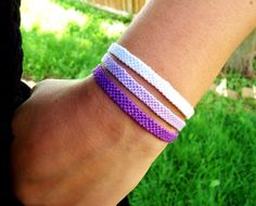 Purple, Lavender & White Solid Candy Stripe Friendship Bracelets by PeacedTogether on Etsy.