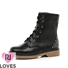 black stud boots - ankle boots - shoes / boots - women - River Island
