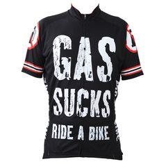 Alien SportsWear GAS SUCKS RIDE A BIKE Pattern Men Summer Breathable Short Sleeve Cycling Clothing Black Bike Jersey Size XS-5XL