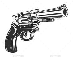 Buy Vintage Monochrome Six Shooter Revolver Concept by imogi on GraphicRiver. Vintage monochrome six shooter revolver concept isolated vector illustration Unique Hand Tattoos, Small Tattoos, Revolver Tattoo, Front Shoulder Tattoos, Tattoo Tradicional, Money Tattoo, Propaganda Art, Tattoo Stencils, Diy Canvas Art