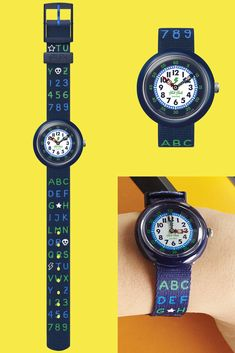 With its distinctive dark blue and green colour scheme, the BLUE AB34 (ZFBNP132) will be a memorable gift for stylish little ones. This analogue wrist watch for kids makes learning to tell the time as easy as ABC, and it features a solid plastic case with a digital printed dial. Green Color Schemes, Green Colors, Telling Time, Memorable Gifts, Plastic Case, Swatch, Bracelet Watch, Dark Blue, How To Memorize Things