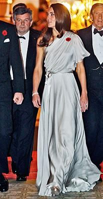Kate Middleton chose a one-shoulder chiffon and satin dress by British designer Jenny Packham for the National Memorial Arboretum Appeal reception at St. James Palace.