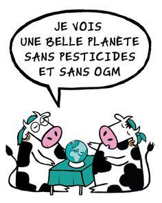 Pipelette et Savante voient une belle planète sans pesticides et sans OGM.