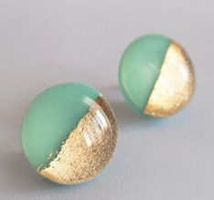 mint and gold circular earrings