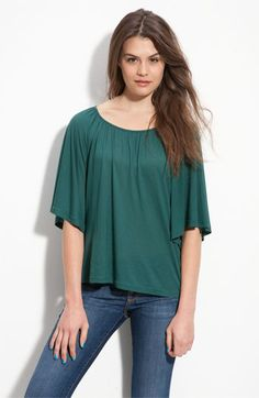 gathered neck flutter sleeve top  Nordstrom Rack