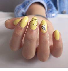nail 24 Minimalism Bright Yellow Nails for You in This Summer - Page 5 of 24 - GetbestIdea Yellow Nails Design, Yellow Nail Art, Cute Nails, Pretty Nails, My Nails, Acrylic Nail Designs, Acrylic Nails, Nail Art Halloween, Nail Design Spring