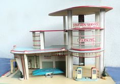 Rare Garage, French Gas Station, Station Service 1:43 Scale, NIL, 50s Toy, Collectible Toy, Classic Car, Esso Garage