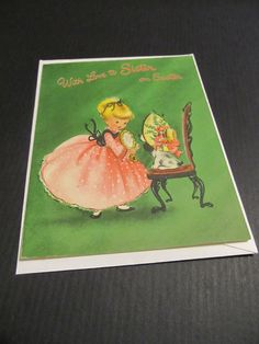 Easter greetings to mother cabin in the woods purple bow dear with love to sister on easter little girl with dog in hat green greeting cards freevintage greeting m4hsunfo
